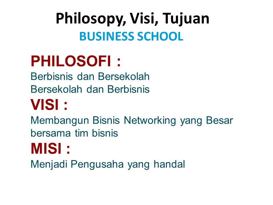 PHILOSOFI : VISI : MISI : Philosopy, Visi, Tujuan BUSINESS SCHOOL