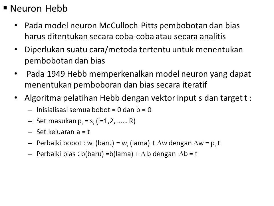 Neuron Hebb Pada model neuron McCulloch-Pitts pembobotan dan bias harus ditentukan secara coba-coba atau secara analitis.