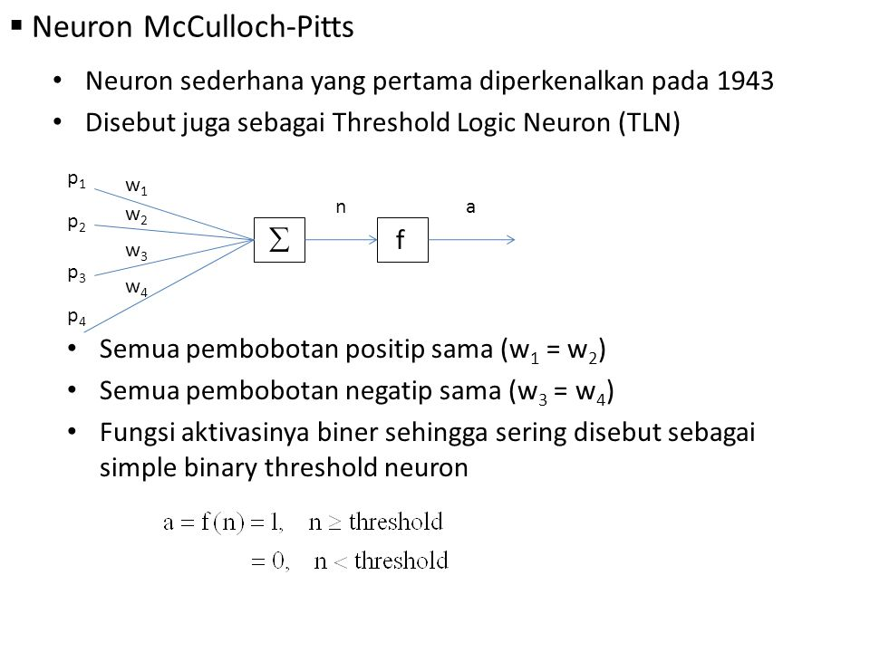 Neuron McCulloch-Pitts