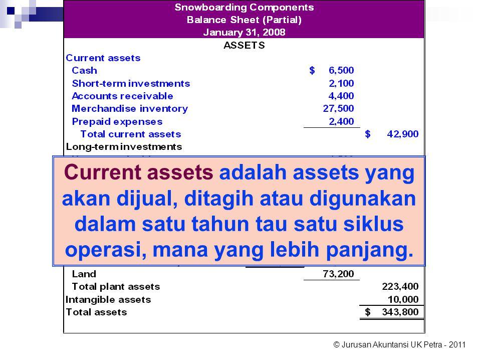 Current assets adalah assets yang akan dijual, ditagih atau digunakan dalam satu tahun tau satu siklus operasi, mana yang lebih panjang.