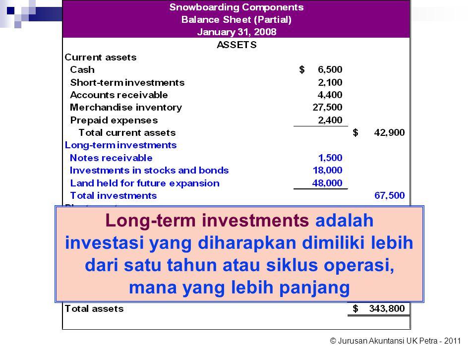 Long-term investments adalah investasi yang diharapkan dimiliki lebih dari satu tahun atau siklus operasi, mana yang lebih panjang