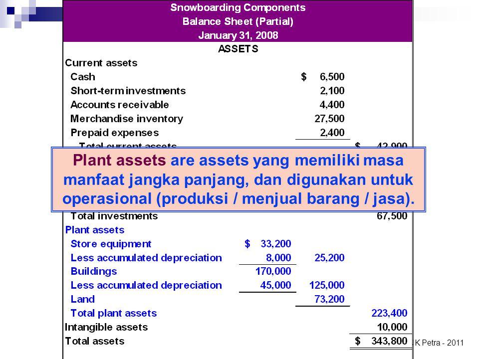 Plant assets are assets yang memiliki masa manfaat jangka panjang, dan digunakan untuk operasional (produksi / menjual barang / jasa).