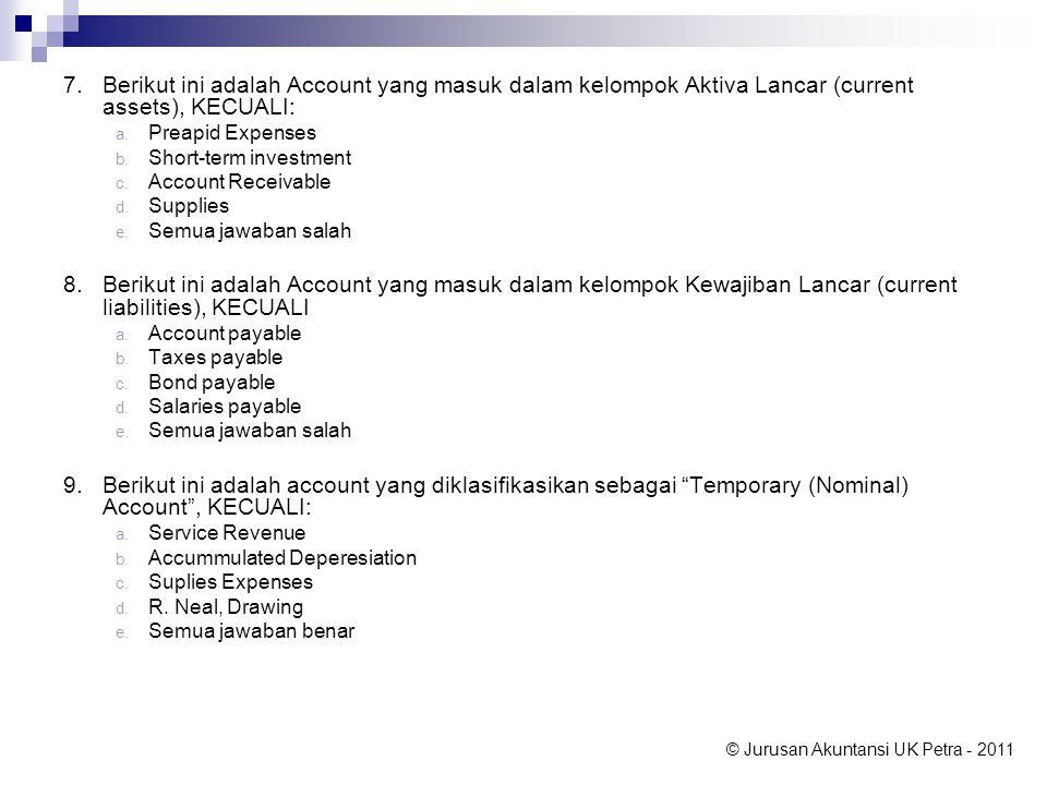 7. Berikut ini adalah Account yang masuk dalam kelompok Aktiva Lancar (current assets), KECUALI: