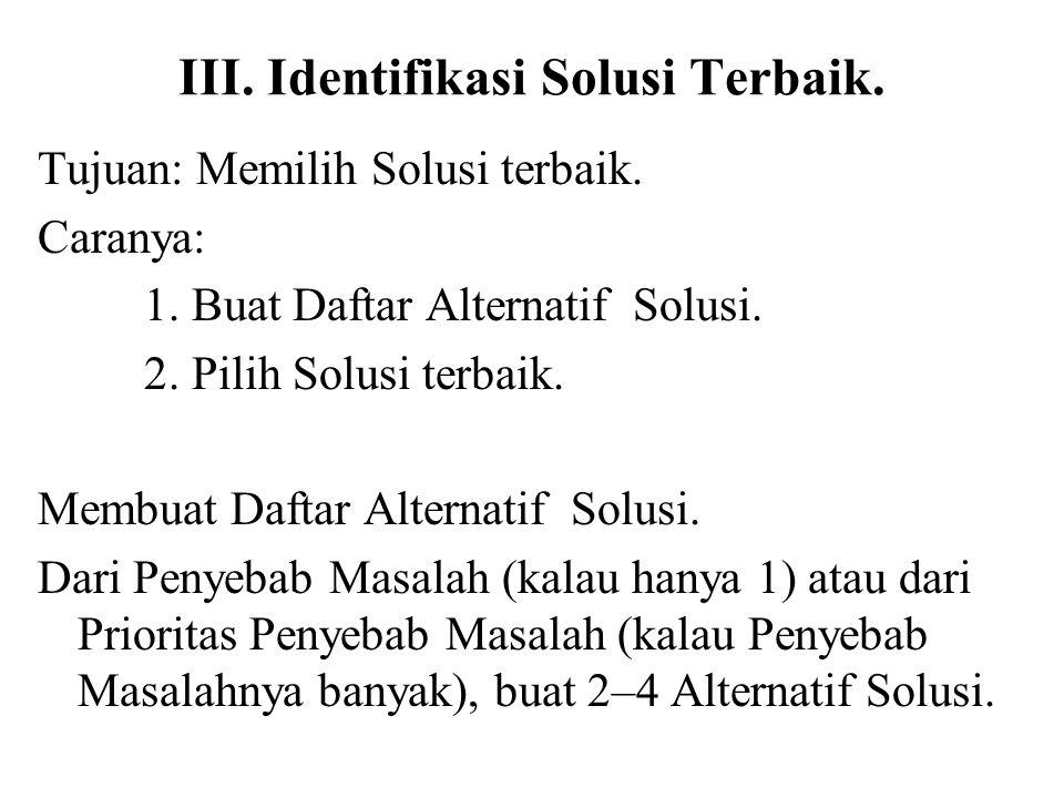III. Identifikasi Solusi Terbaik.