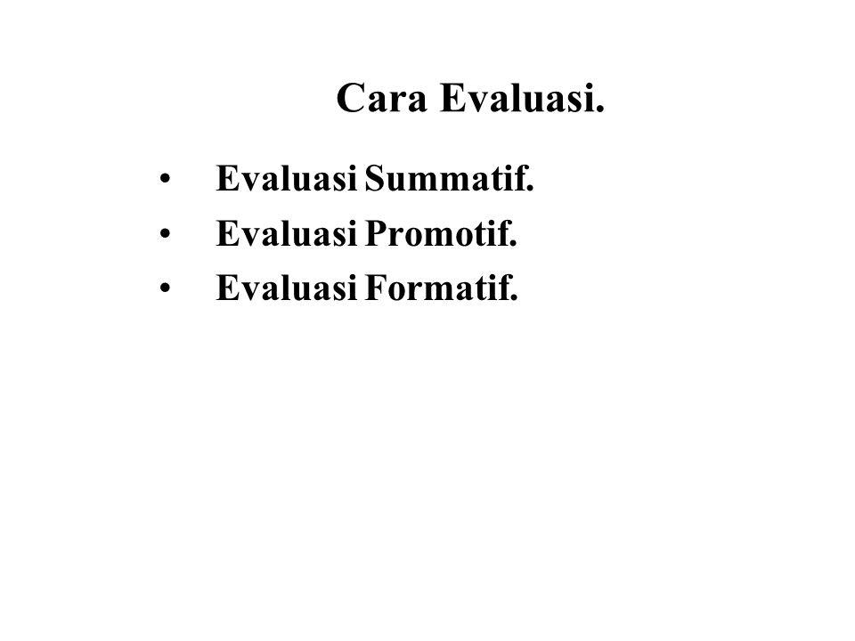 Cara Evaluasi. Evaluasi Summatif. Evaluasi Promotif.