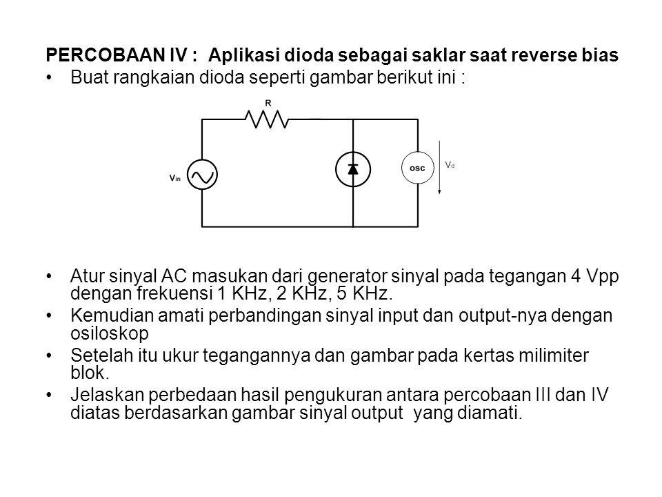 PERCOBAAN IV : Aplikasi dioda sebagai saklar saat reverse bias