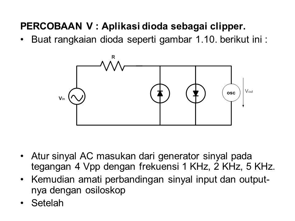 PERCOBAAN V : Aplikasi dioda sebagai clipper.