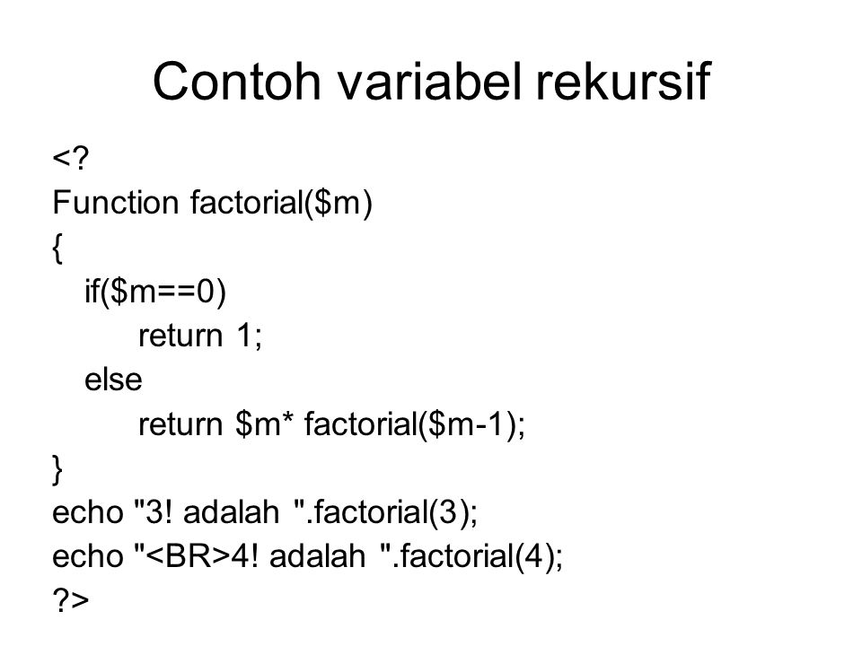 Contoh variabel rekursif