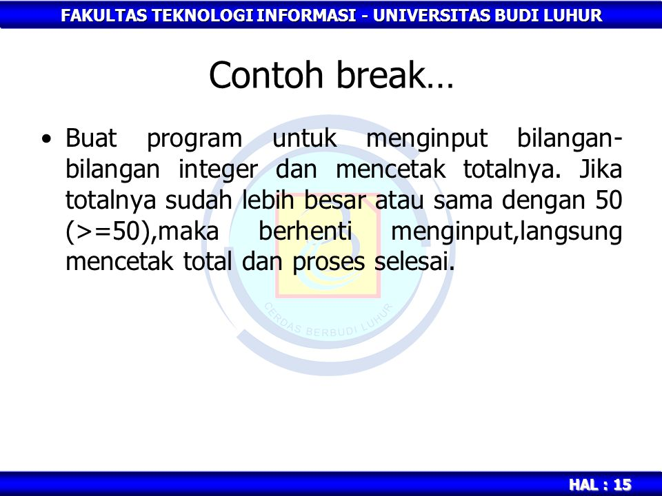 Contoh break…
