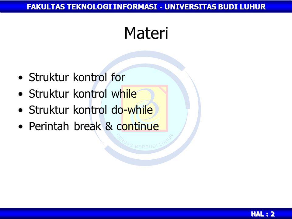 Materi Struktur kontrol for Struktur kontrol while