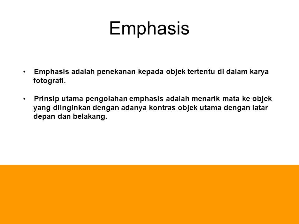 Emphasis Emphasis adalah penekanan kepada objek tertentu di dalam karya. fotografi. Prinsip utama pengolahan emphasis adalah menarik mata ke objek.