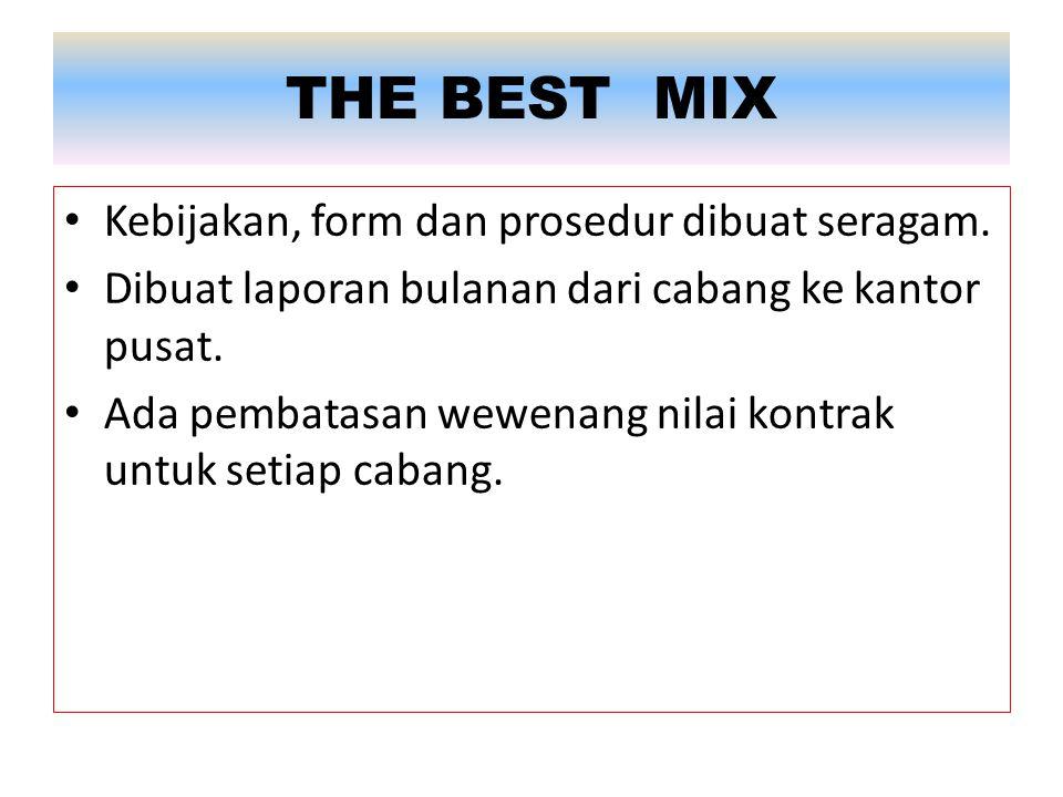 THE BEST MIX Kebijakan, form dan prosedur dibuat seragam.