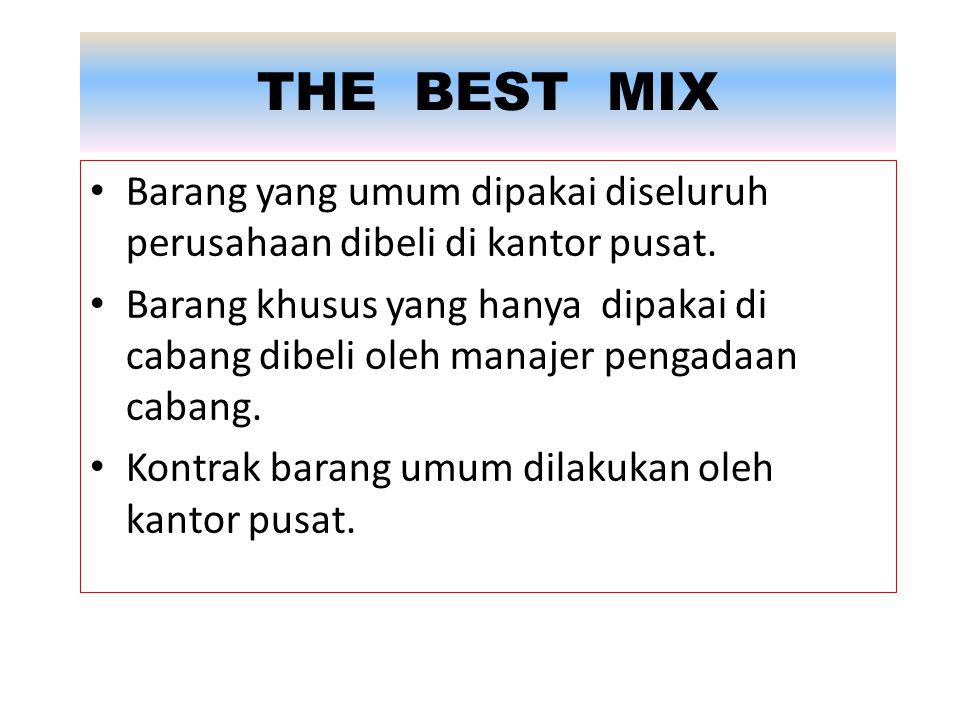 THE BEST MIX Barang yang umum dipakai diseluruh perusahaan dibeli di kantor pusat.