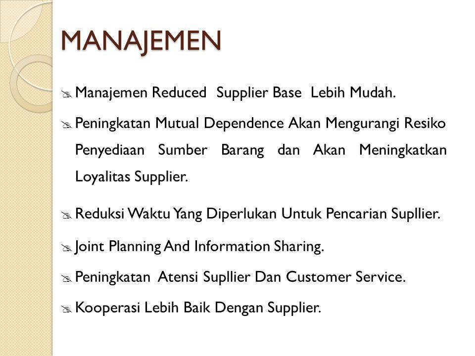 MANAJEMEN Manajemen Reduced Supplier Base Lebih Mudah.