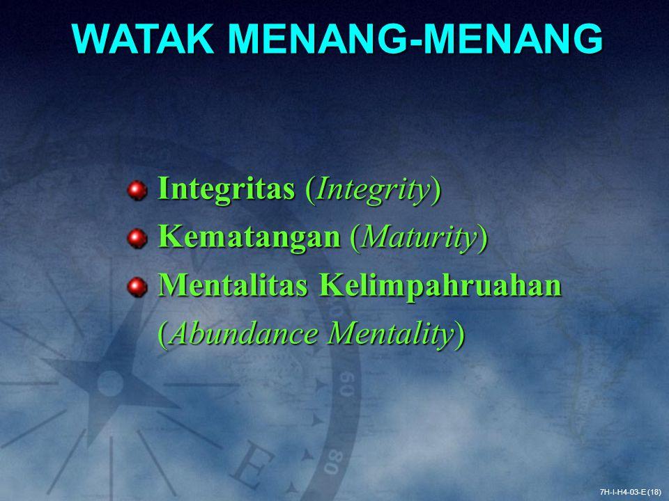 WATAK MENANG-MENANG Integritas (Integrity) Kematangan (Maturity)