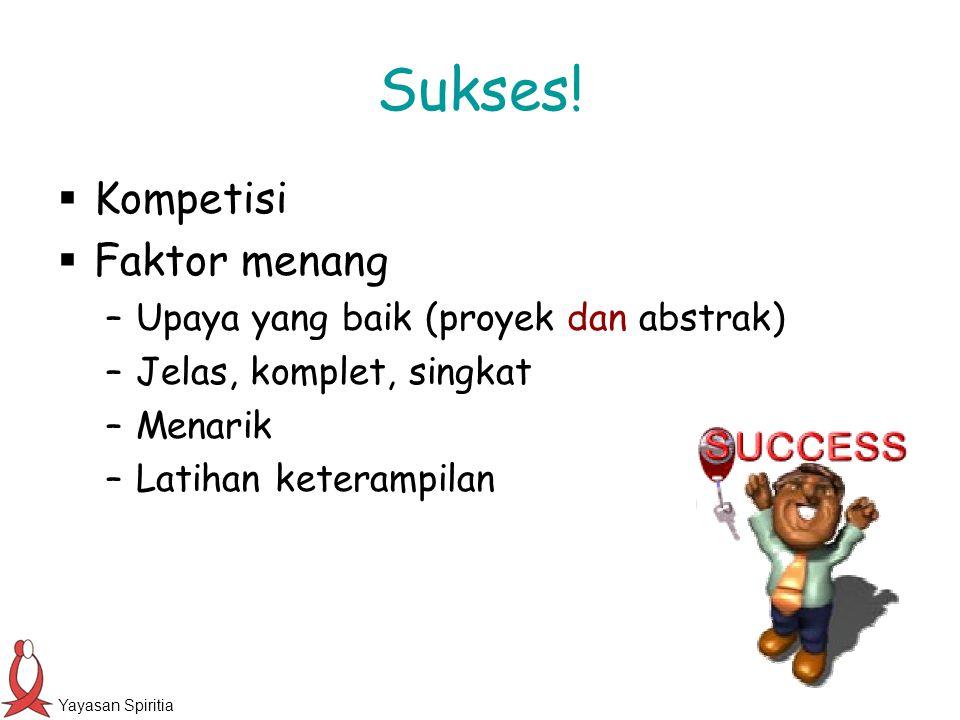 Sukses! Kompetisi Faktor menang Upaya yang baik (proyek dan abstrak)