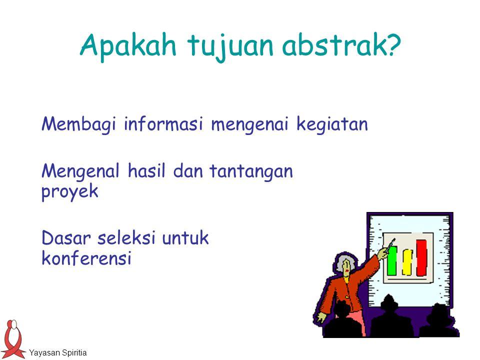 Apakah tujuan abstrak Membagi informasi mengenai kegiatan