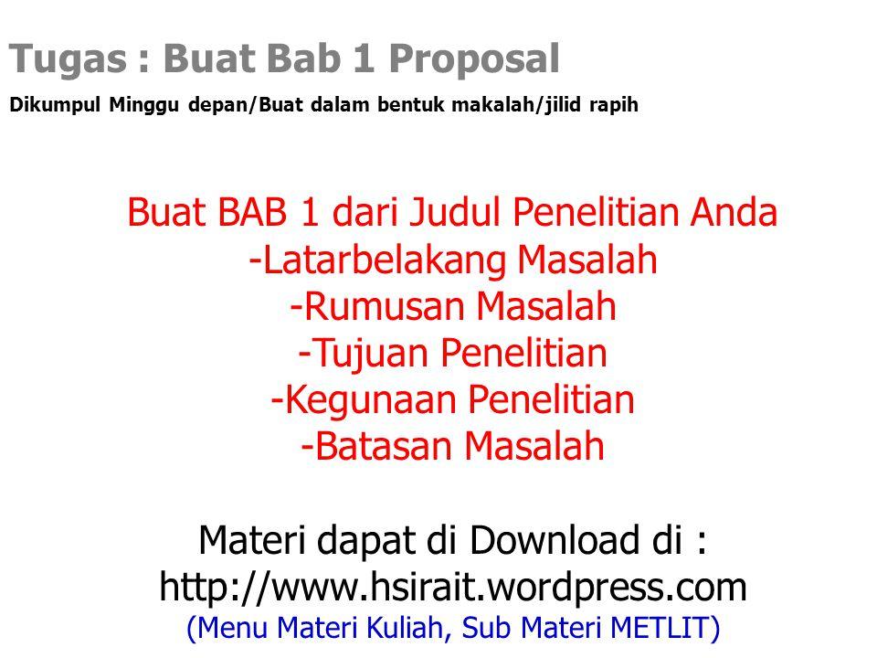 Tugas : Buat Bab 1 Proposal