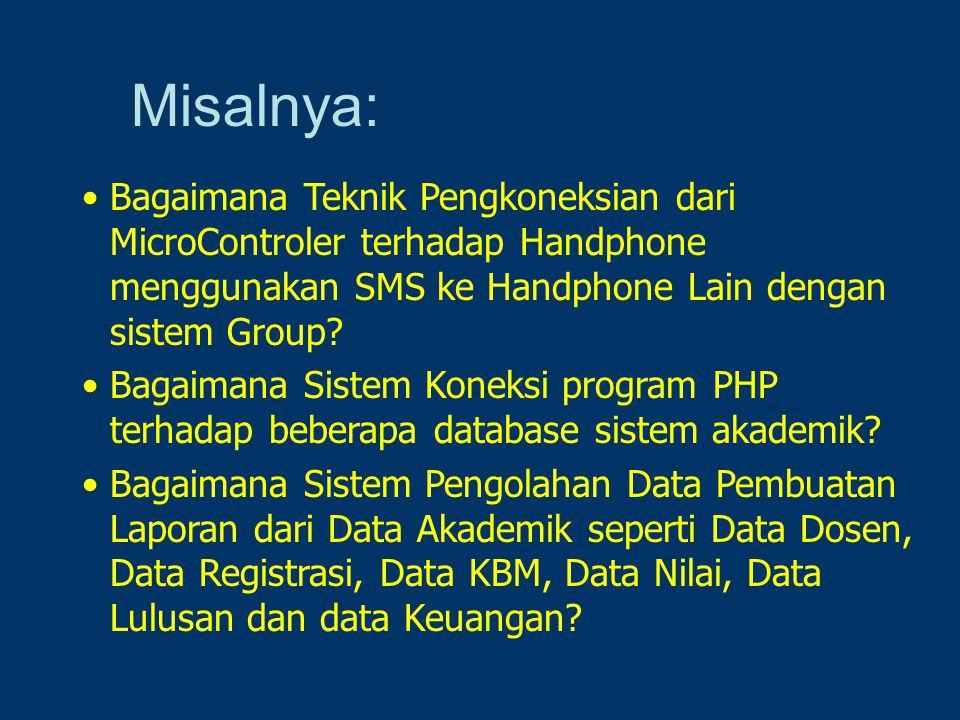 Misalnya: Bagaimana Teknik Pengkoneksian dari MicroControler terhadap Handphone menggunakan SMS ke Handphone Lain dengan sistem Group
