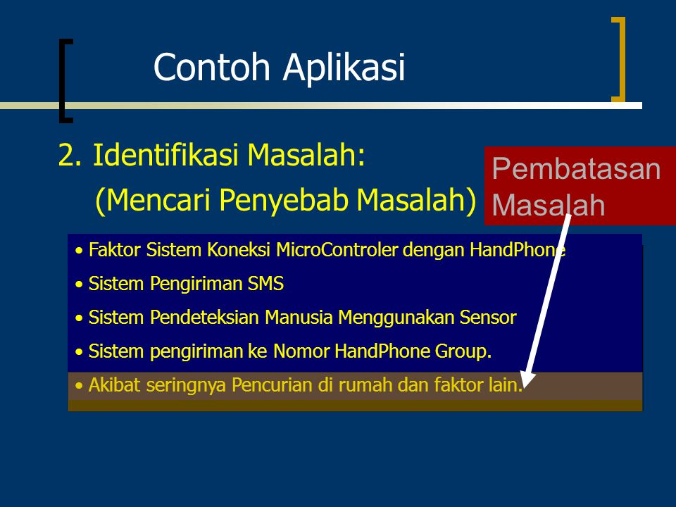 Contoh Aplikasi 2. Identifikasi Masalah: Pembatasan Masalah