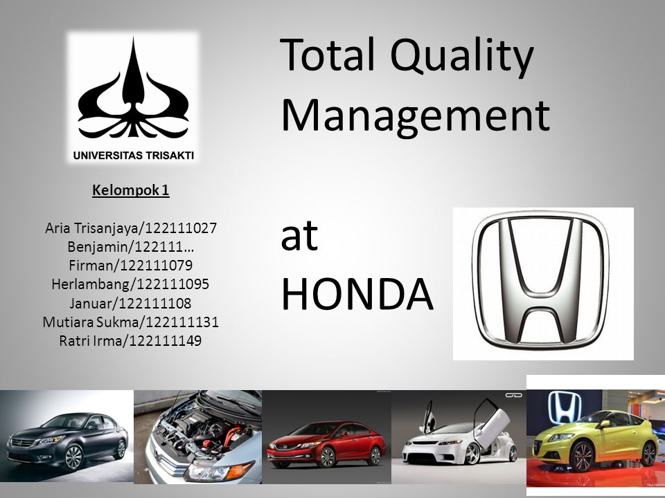 Total Quality Management at HONDA
