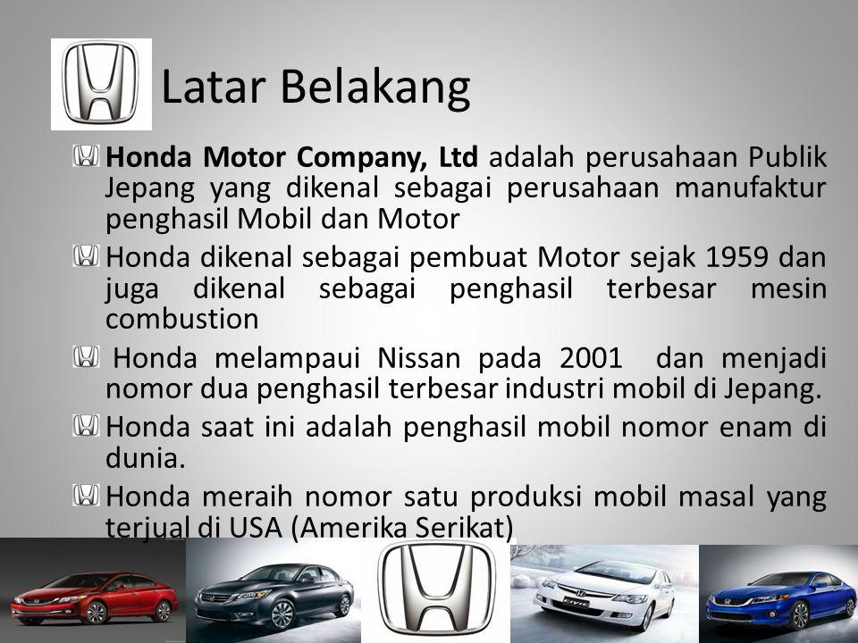 Latar Belakang Honda Motor Company, Ltd adalah perusahaan Publik Jepang yang dikenal sebagai perusahaan manufaktur penghasil Mobil dan Motor.