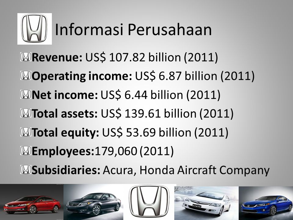 Informasi Perusahaan Revenue: US$ 107.82 billion (2011)