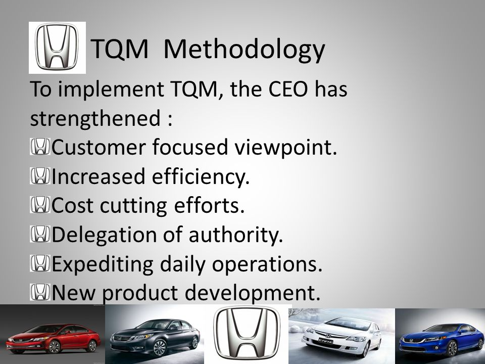 TQM Methodology To implement TQM, the CEO has strengthened :