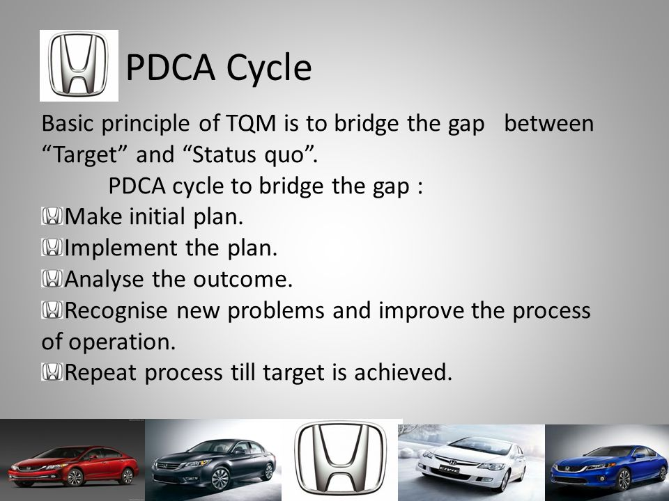 PDCA Cycle Basic principle of TQM is to bridge the gap between Target and Status quo . PDCA cycle to bridge the gap :