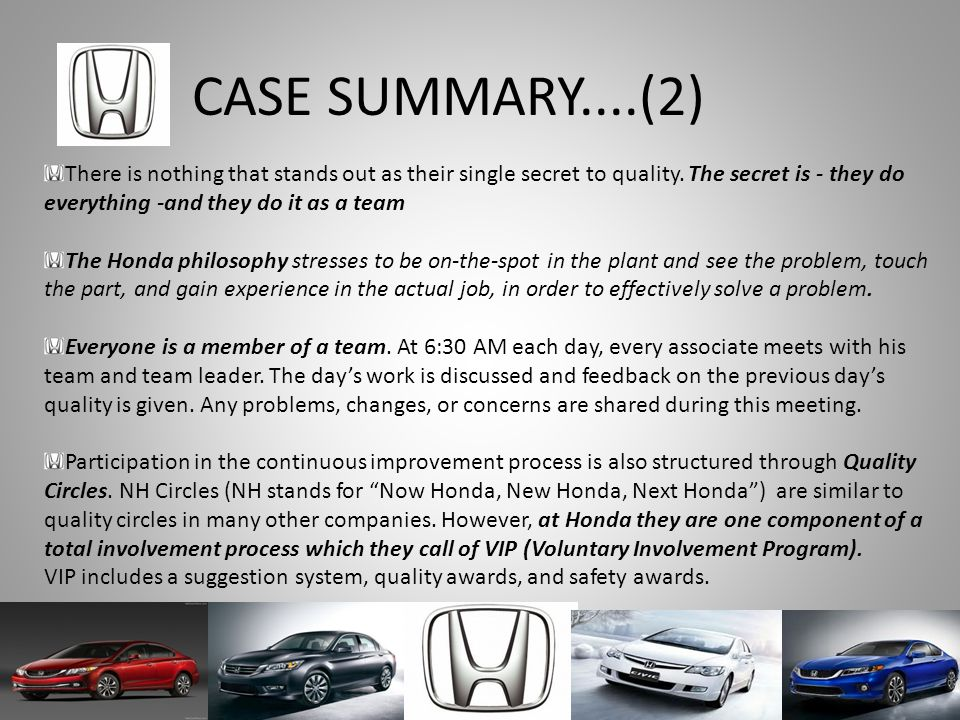 Total quality management at honda ppt download for Team honda purchase program