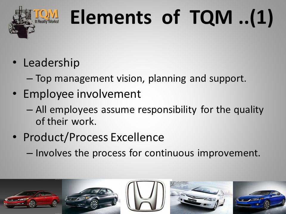 Elements of TQM ..(1) Leadership Employee involvement