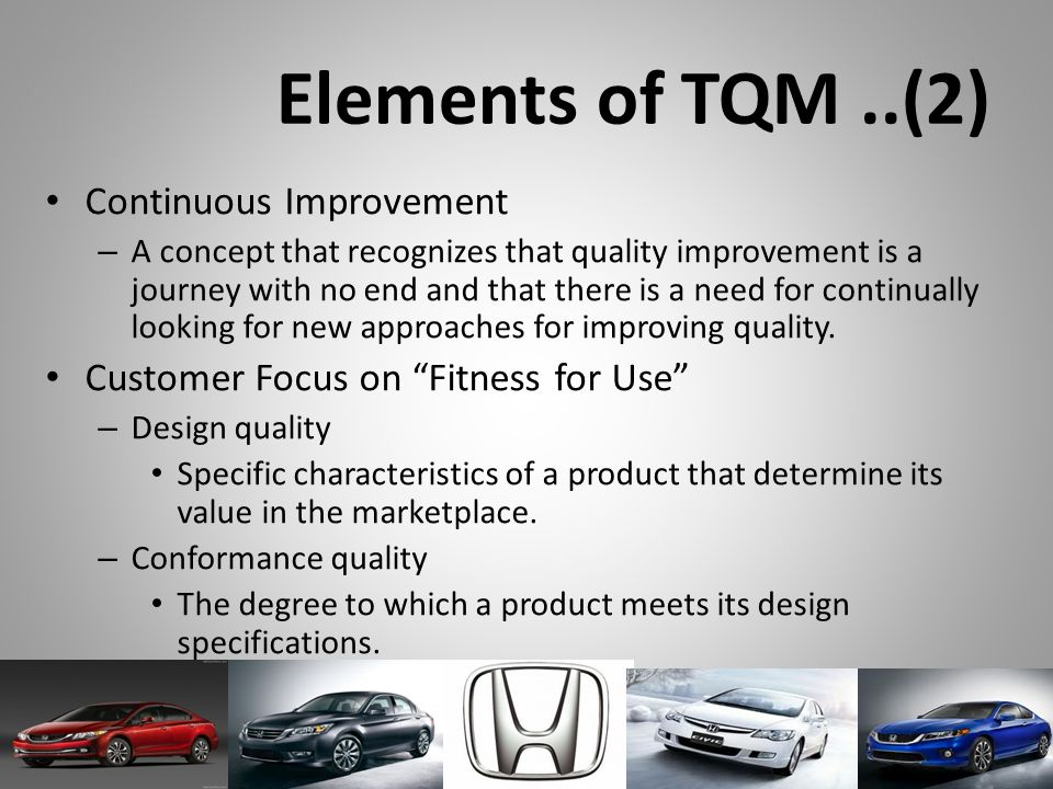 Elements of TQM ..(2) Continuous Improvement