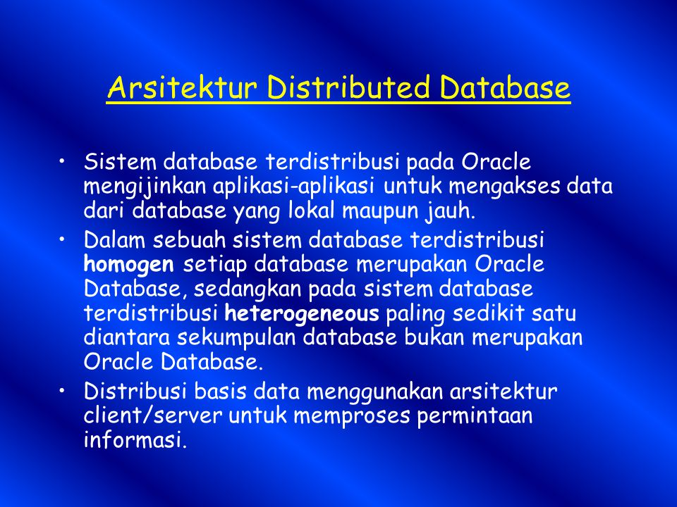 Arsitektur Distributed Database