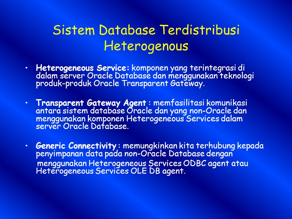 Sistem Database Terdistribusi Heterogenous