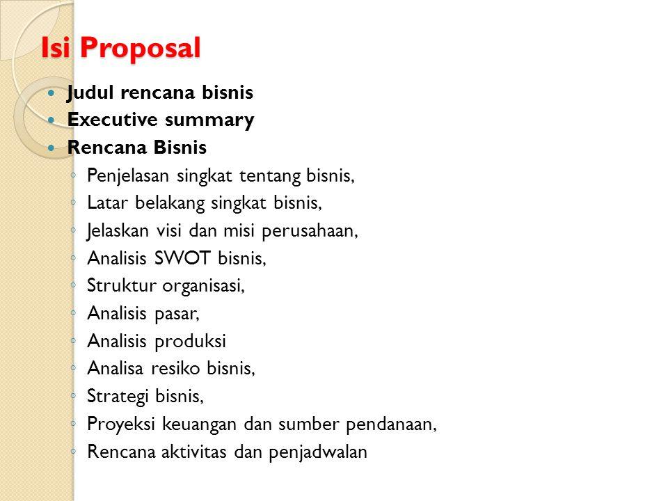 Isi Proposal Judul rencana bisnis Executive summary Rencana Bisnis