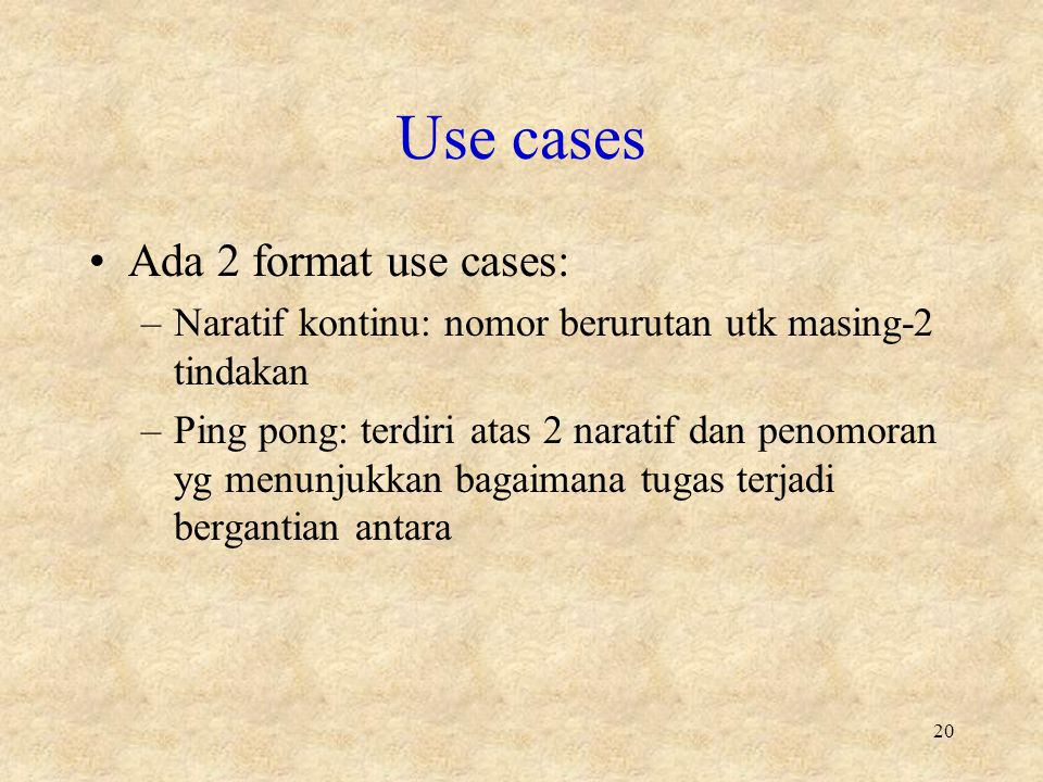 Use cases Ada 2 format use cases: