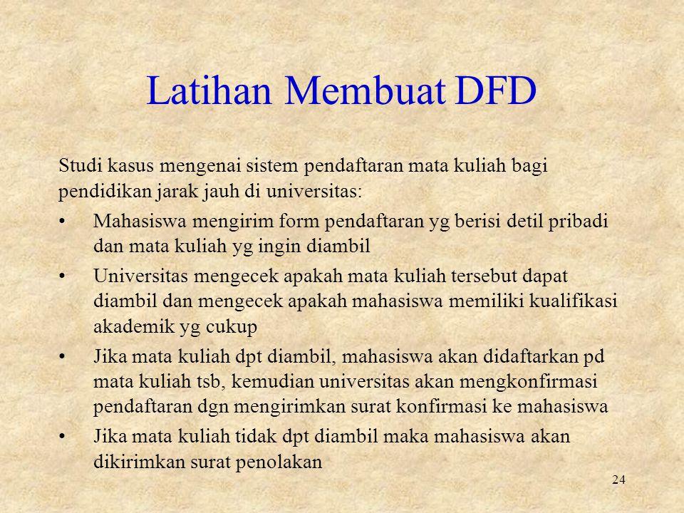 Latihan Membuat DFD Studi kasus mengenai sistem pendaftaran mata kuliah bagi pendidikan jarak jauh di universitas: