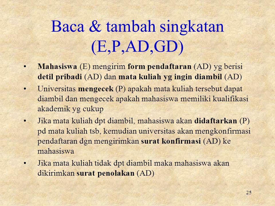 Baca & tambah singkatan (E,P,AD,GD)