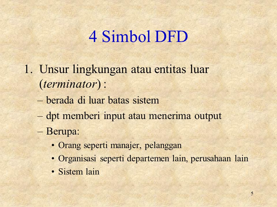 4 Simbol DFD Unsur lingkungan atau entitas luar (terminator) :