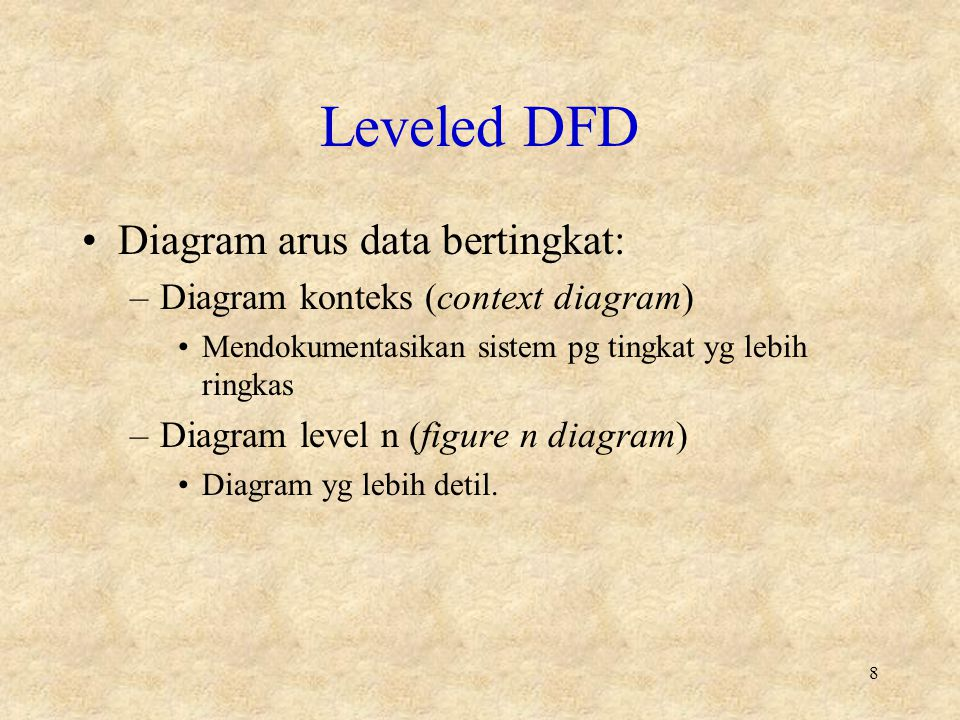 Leveled DFD Diagram arus data bertingkat:
