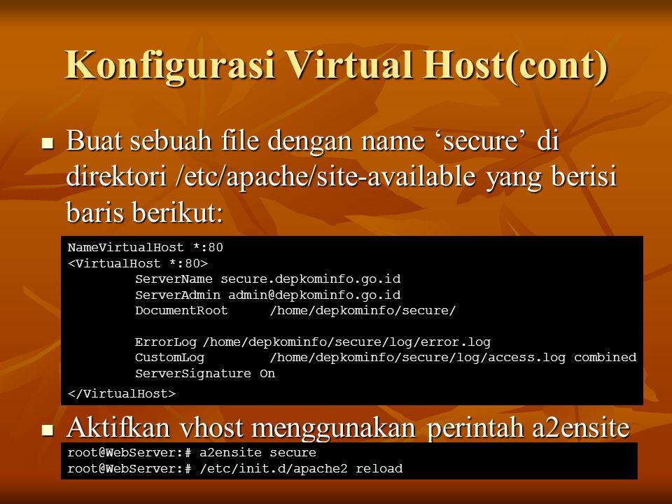 Konfigurasi Virtual Host(cont)