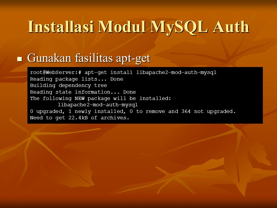 Installasi Modul MySQL Auth