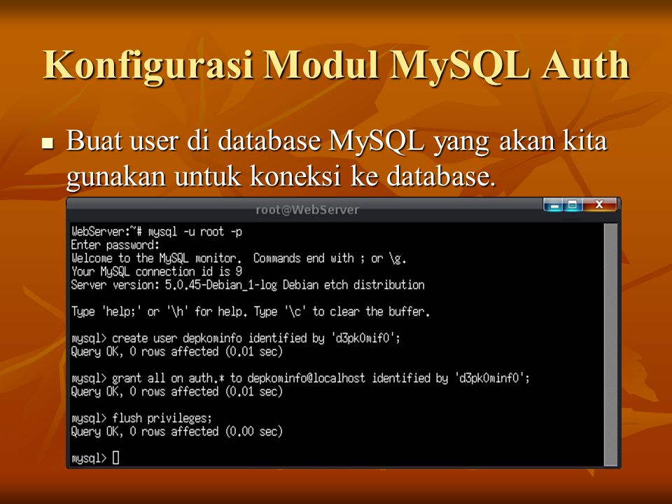 Konfigurasi Modul MySQL Auth