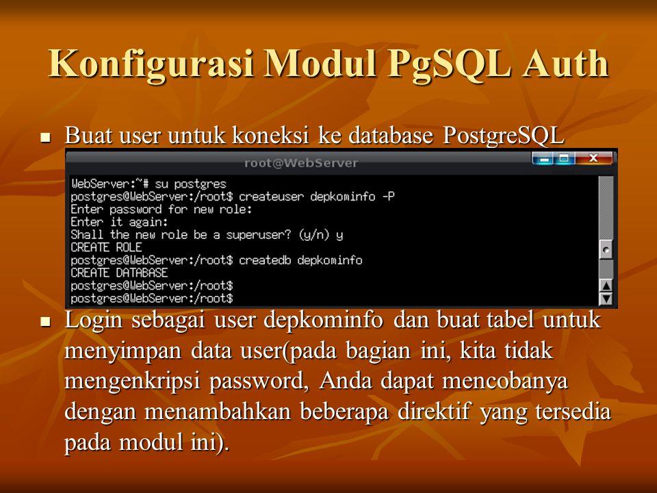 Konfigurasi Modul PgSQL Auth