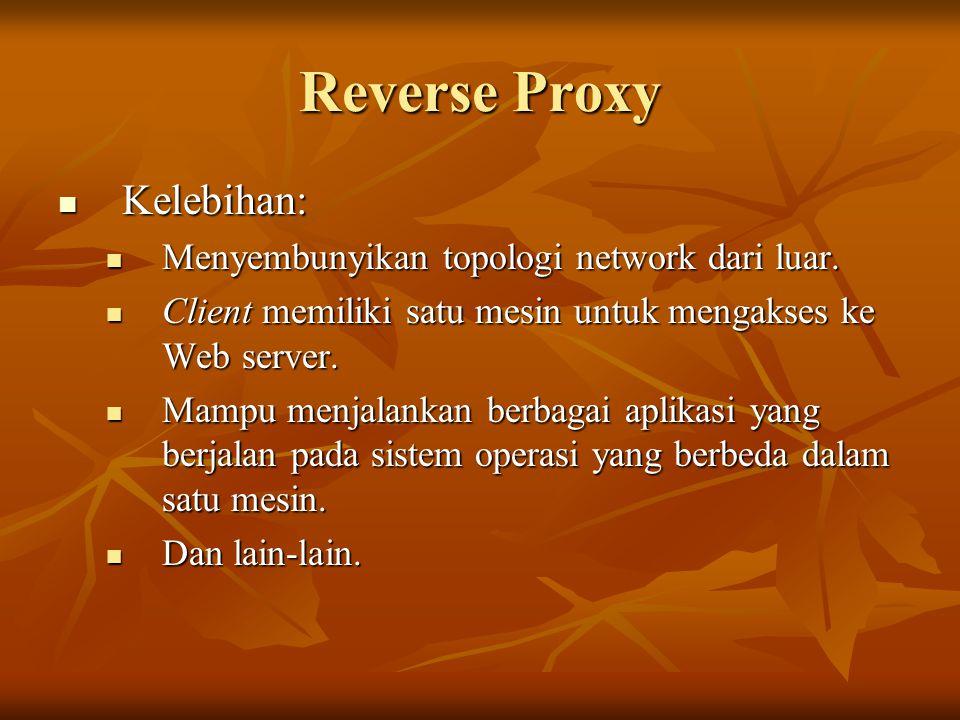 Reverse Proxy Kelebihan: Menyembunyikan topologi network dari luar.