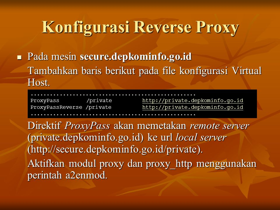 Konfigurasi Reverse Proxy