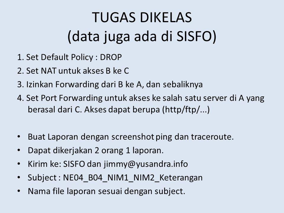 TUGAS DIKELAS (data juga ada di SISFO)
