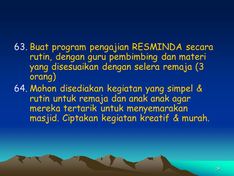 Buat program pengajian RESMINDA secara rutin, dengan guru pembimbing dan materi yang disesuaikan dengan selera remaja (3 orang)