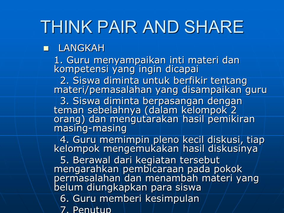 THINK PAIR AND SHARE LANGKAH