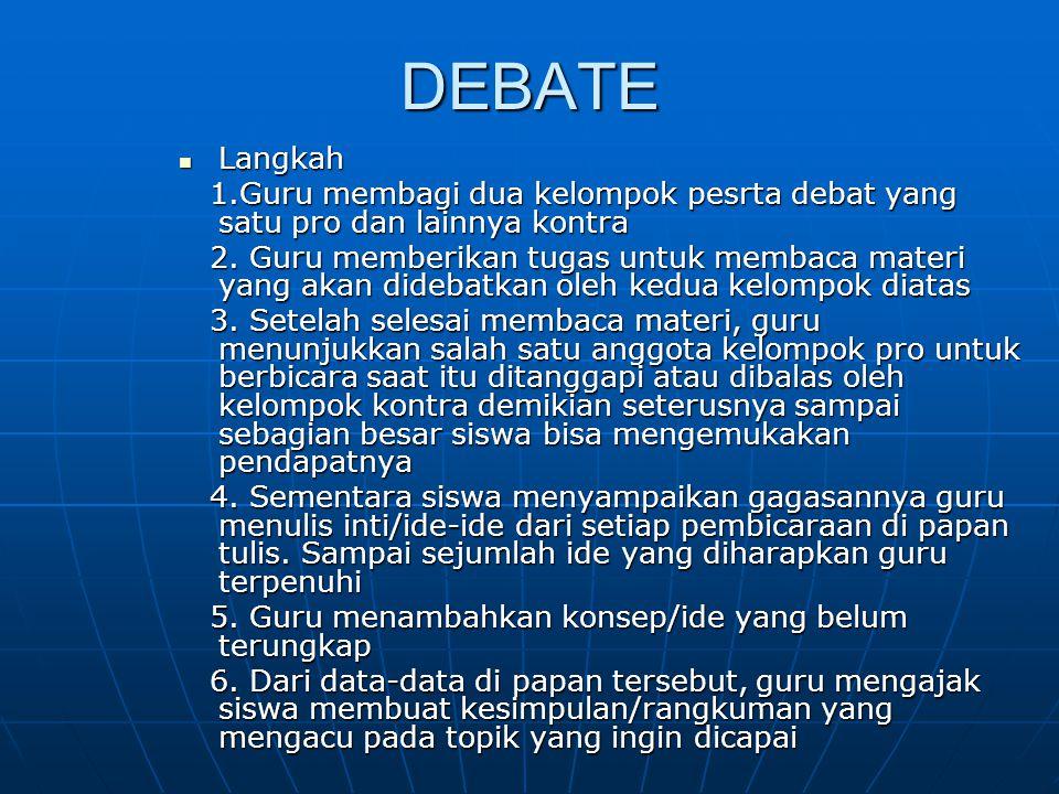DEBATE Langkah. 1.Guru membagi dua kelompok pesrta debat yang satu pro dan lainnya kontra.